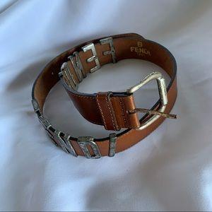 FENDI Logo Women's Brown Leather Belt